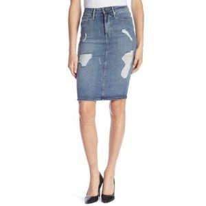 GOOD AMERICAN High Waist Pencil Distressed Skirt